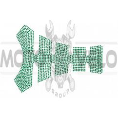 Наклейка на бак (20x16см, стразы зеленые)
