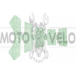 Наклейка на бак (20x16см, стразы светло-зеленые)