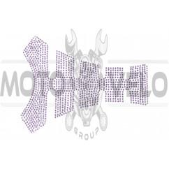 Наклейка на бак (20x16см, стразы светло-фиолетовые)