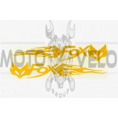 Наклейка логотип FOX (20x5см, желтая, 2шт) (#049)