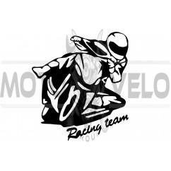 Наклейка декор MOTO (12х11см, черная) (#HQ5)