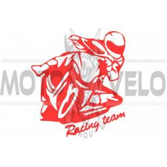Наклейка декор MOTO (12х11см, красная) (#HQ5)