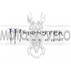Наклейка шильдик MONSTER ENERGY (19x7см, алюминий, хром) (#4750)