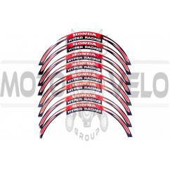 Наклейка на колесо 17 Honda (красная, светоотражающая)