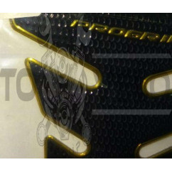 Наклейка на бак   FISH  (резина, черная, золотой кант)