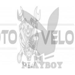 Наклейка   логотип   PLAYBOY   (16x11см, белая)   (#647)