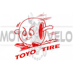 Наклейка логотип TOYO (11x10см, красная) (#0727)