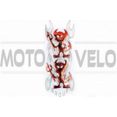 Наклейка шильдик DEVIL (6x7см, алюминий) (#4738)