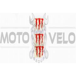 Наклейка логотип MONSTER ENERGY (5x6см, 3шт, красная) (#HTC10103)