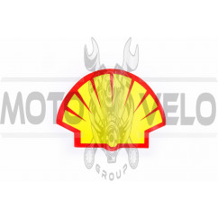 Наклейка логотип SHELL (13x9см, красно-оранжевая) (#0347)