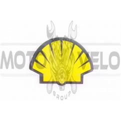Наклейка логотип SHELL (13x9см, черно-оранжевая) (#0347)
