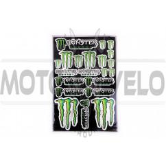 Наклейки (набор) спонсор MONSTER ENERGY (30х45см, силикон) (#5989B)