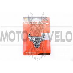 Наклейка шильдик RED BULL (7x6см, пластик, хром) (#4258)