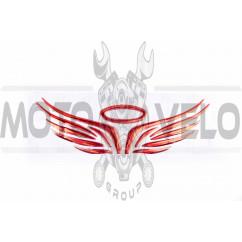 Наклейка шильдик MOTOANGEL (17x5см, алюминий, красный) (#4729)