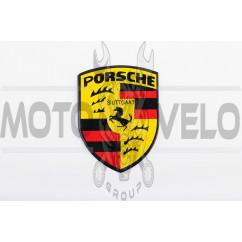 Наклейка логотип PORSCHE (8x9см, алюминий) (#3544)