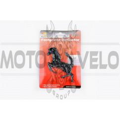Наклейка шильдик HORSE (10x8см, пластик, хром) (#4256)