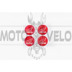 Наклейка логотип (mod:Honda d-3см, 4шт, силикон, красная) (#4280)