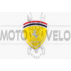 Наклейка логотип FERRARI (8x9см, алюминий) (#4601)