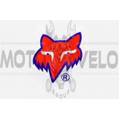 Наклейка логотип FOX (14x14см, красный) (#0368)