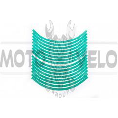 Наклейка на колесо 10 декор (16шт, зеленая) (#6054Ф)
