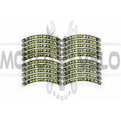 Наклейка на колесо 10 MONSTER ENERGY (12x1см, 20шт, желтая) (#6059D)