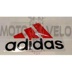 Наклейка   логотип   ADIDAS   (14x9см, красно-черная)   (#0009)