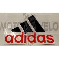 Наклейка   логотип   ADIDAS   (14x9см, черно-красная)   (#0009)
