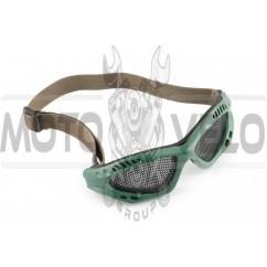 Очки мото KOESTLER (на резинке, зеленые, c перфорационным стеклом)