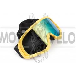 Очки кроссовые KML (mod:WL-EC006, зеленые, стекло хамелеон)