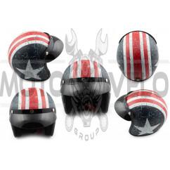 Шлем открытый (с козырьком, size:L, бело-синий) STAR
