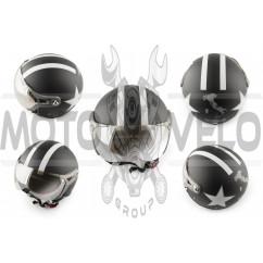 Шлем открытый (с очками и козырьком, size:L, черный) BEON
