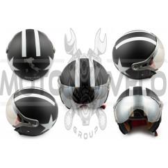Шлем открытый (с очками и козырьком, size:M, черный матовый) BEON
