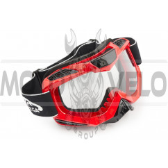 Очки кроссовые (mod:MJ-1016, красные, прозрачное стекло)