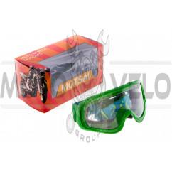 Очки кроссовые (зеленый с прозрачным стеклом)