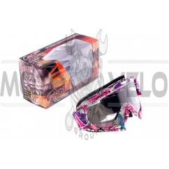 Очки кроссовые MOTSAI (бело-лиловые, ремешок бело-лиловый, прозрачное стекло)