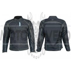 Мотокуртка (кожзам) (черная, усиление на плечах, груди size L)