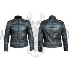Мотокуртка (кожа) (черная size XL)