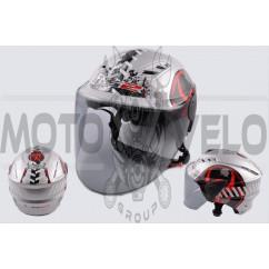 Шлем открытый (mod:100) (аэроформа, черный визор) (size:L, BIOHAZARD) LS2