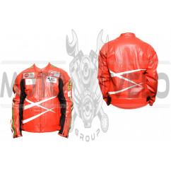 Мотокуртка DAQINESE (кожзам) (size:XL, красная)