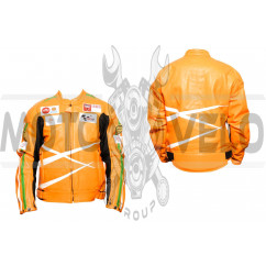 Мотокуртка DAQINESE (кожзам) (size:XXL, оранжевая, mod:3)
