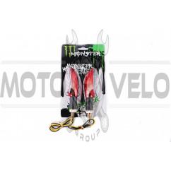 Повороты светодиодные (пара) стреловидные (красные, прозрачные, 11 диодов) MONSTER ENERGY