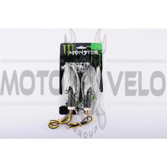 Повороты светодиодные (пара) стреловидные (серебристые, прозрачные, 11 диодов) MONSTER ENERGY