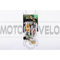 Повороты светодиодные (пара) стреловидные (серебристые, желтое стекло) MONSTER ENERGY