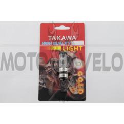 Лампа P15D-25-1 (1 ус) 12V 18W/18W (белая) (блистер) (B-head) TAKAWA (mod:A)