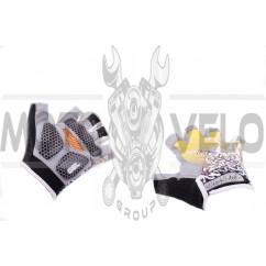 Перчатки без пальцев (mod:1, size:L, гелевые подушки, желтые) HAND CREW