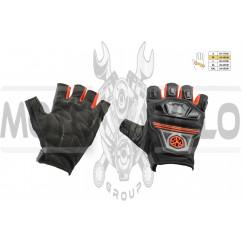 Перчатки без пальцев (mod:MC-24D, size:M, красные, текстиль) SCOYCO