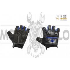 Перчатки без пальцев (mod:MC-24D, size:XL, синие, текстиль) SCOYCO