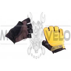 Перчатки без пальцев (size:L, желтые) FOX