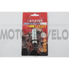 Лампа P15D-25-1 (1 ус) 12V 18W/18W (хамелеон розовый) (блистер) TAKAWA (mod:A)