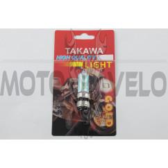 Лампа P15D-25-3 (3 уса) 12V 18W/18W (хамелеон радужный) (блистер) TAKAWA (mod:A)